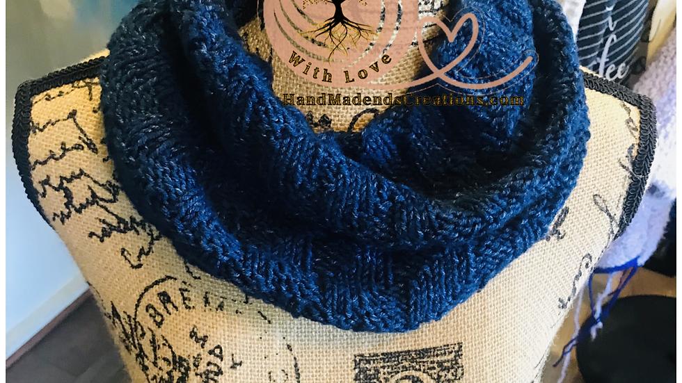 Blue cowl neck scarf