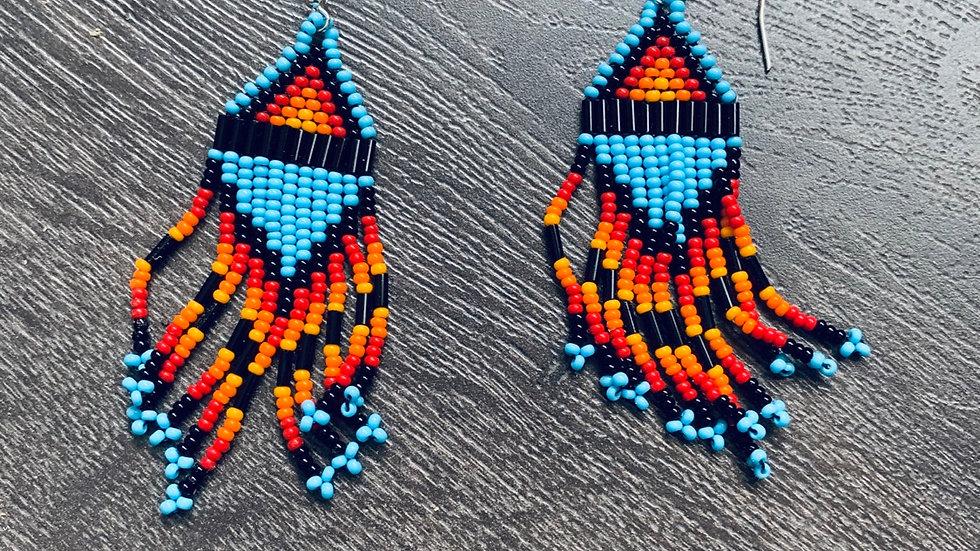 Hand beaded southwestern earrings