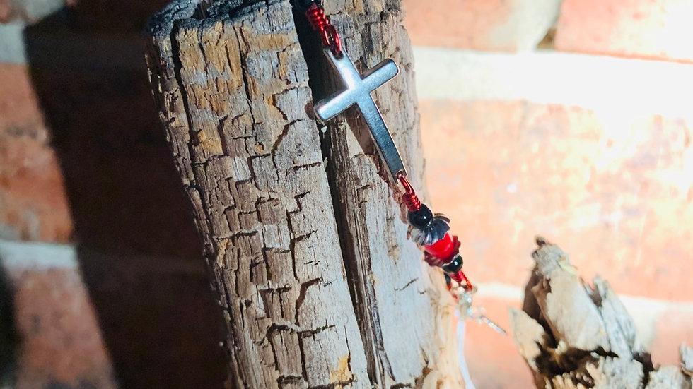Silver & Red Cross bracelet