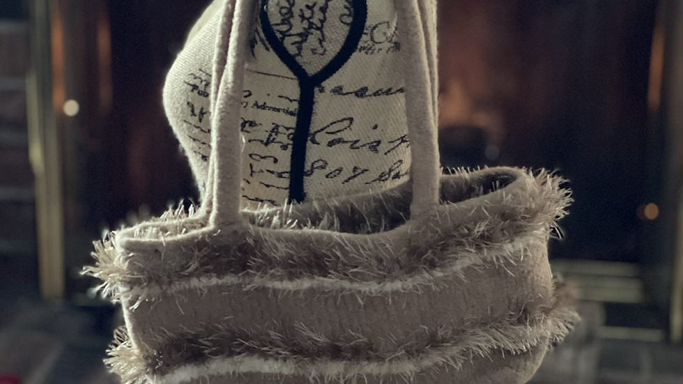 Tan stripe knit purse