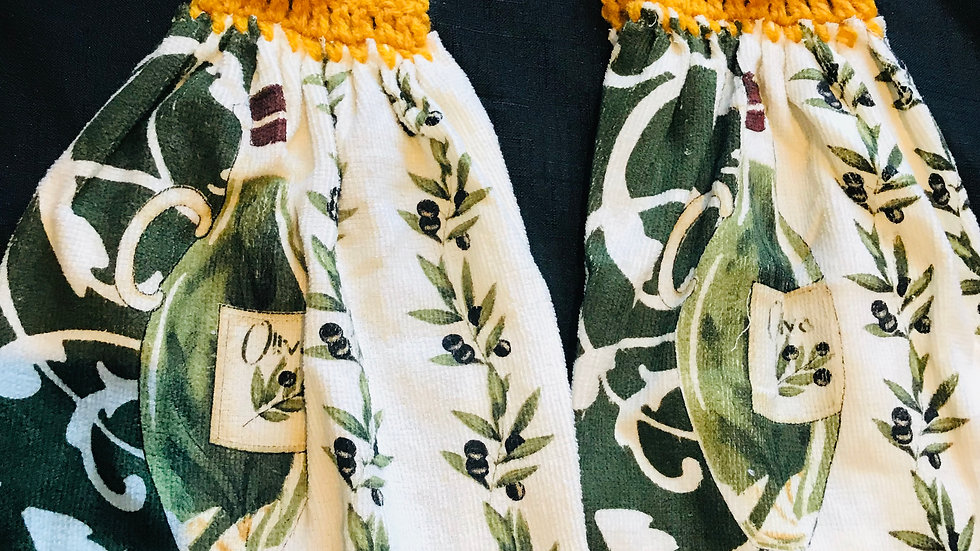 Olive Oil crochet Towel Set