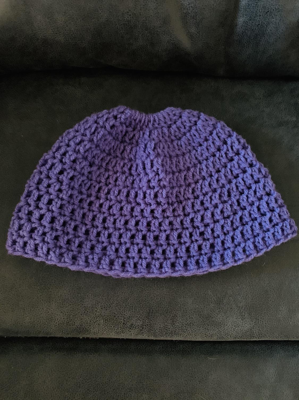 Purple messy bun