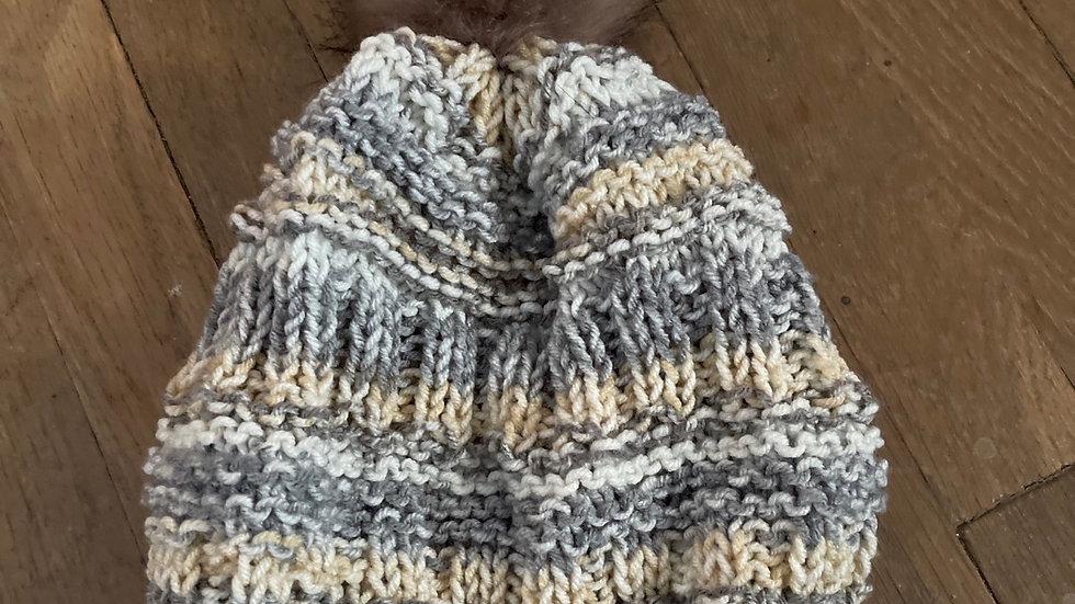 Knit pom pom hat