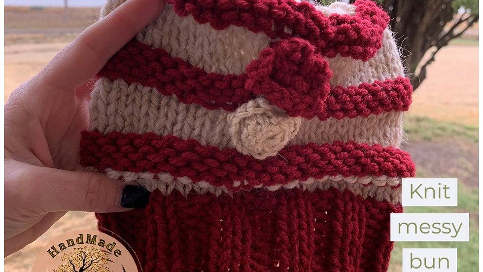 Knit messy bun hat red cream