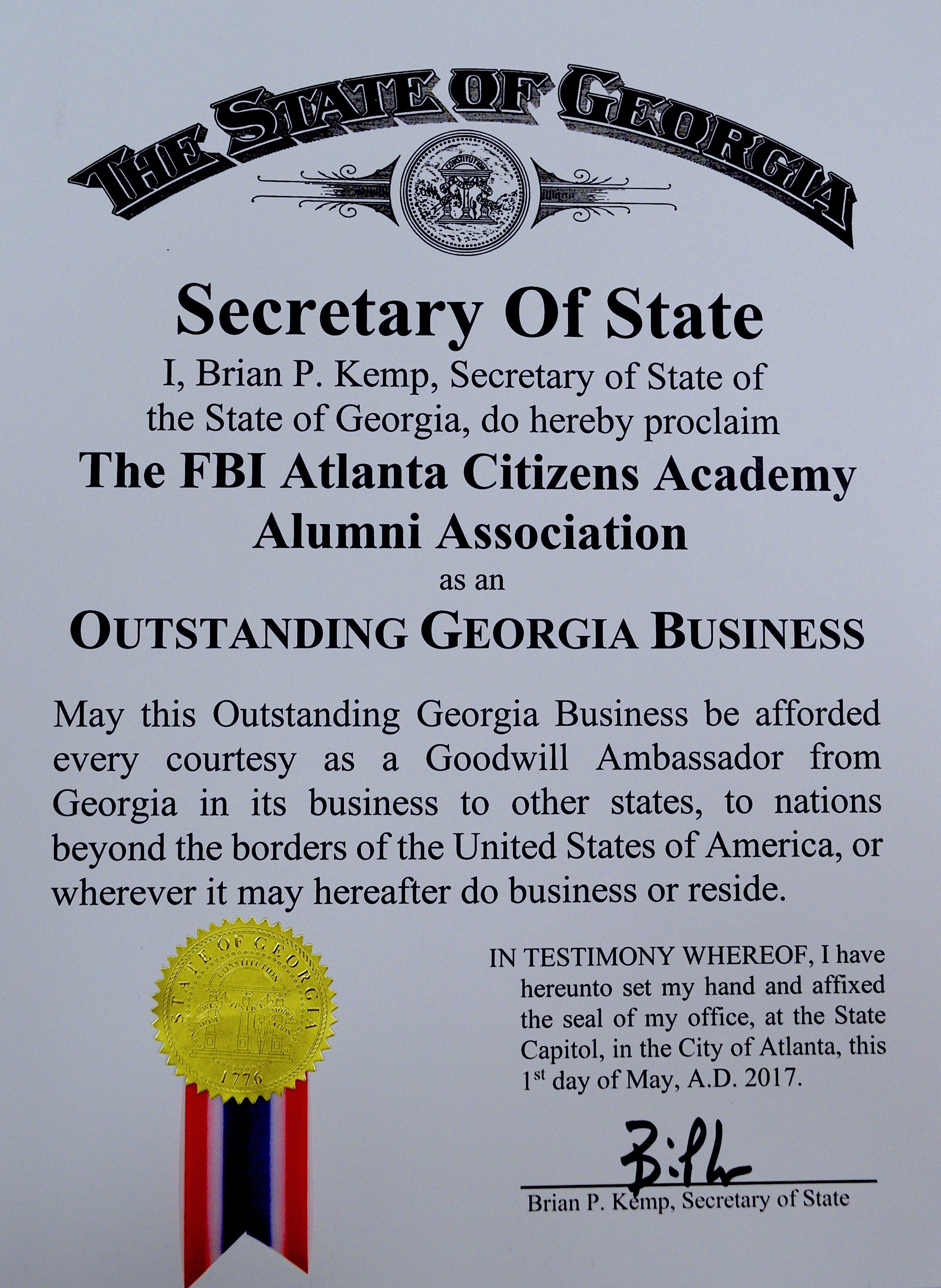 Sec. of State Proclamation