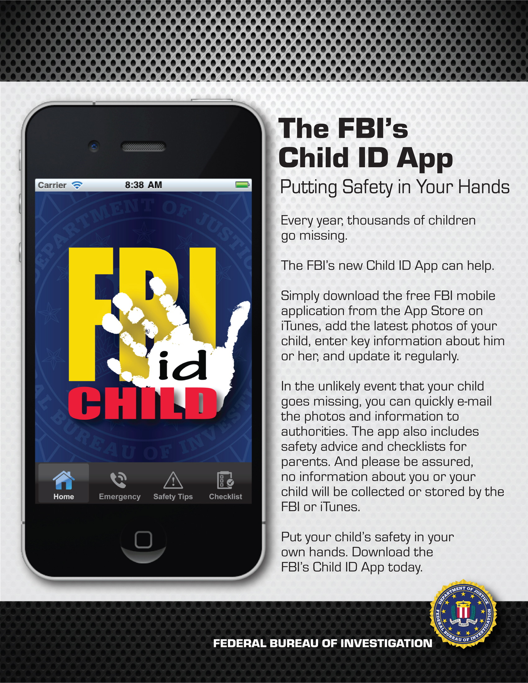 FBI Child ID App Poster