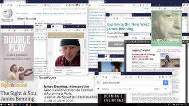 LENDO//VENDO//BENNING (Reading//Binging//Benning)  Chloé Galibert-Lainé, Kevin B. Lee, França, 2018, 11 min.  Quanto você consegue ver de um filme que não consegue assistir?  Um ensaio em vídeo especulativo sobre o filme LEITORES, de James Benning, que está em exibição no Festival ECRÃ.  DATAS E HORÁRIOS DE EXIBIÇÃO - CINEMATECA DO MAM 14/07 - 17H50 19/07 - 19H45 SESC MADUREIRA 31/07 - 14H30