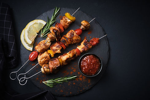 Shish kebab with mushrooms, cherry tomat