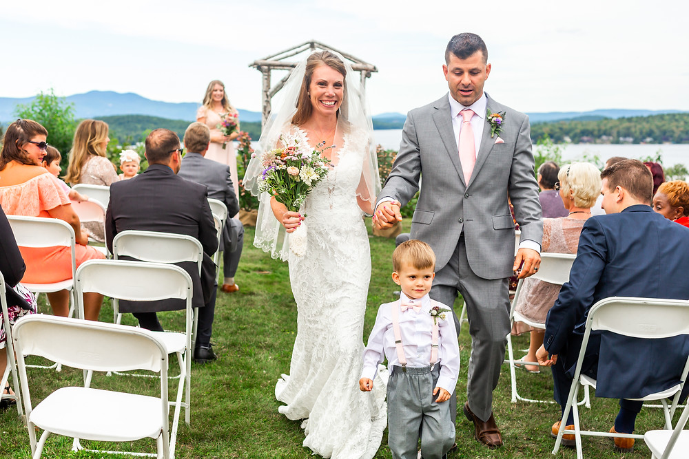 Laconia wedding photographer captures the bride's joy after her wedding ceremony at the Grandview Resort.