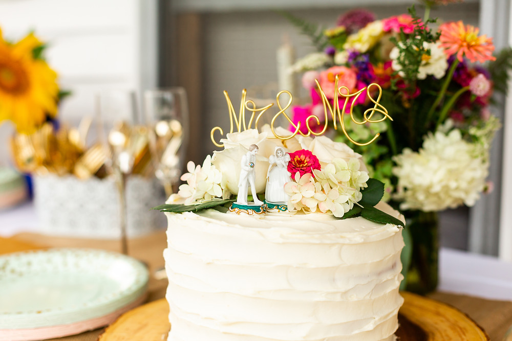 Lovely rustic cake with cherished cake topper at Laconia New Hampshire wedding taken by Elizabeth Ivy Photography, New Hampshire Wedding Photographer