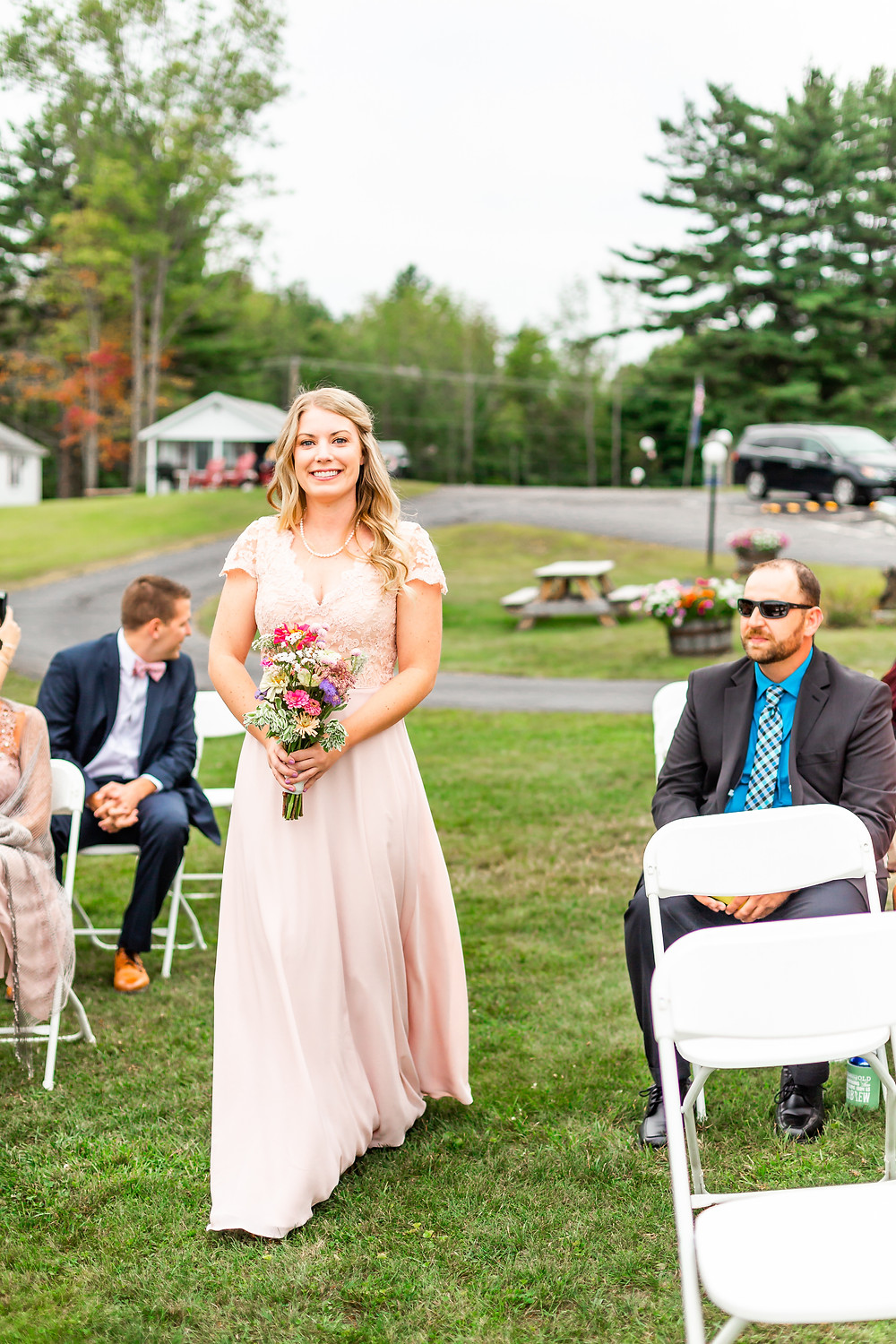 Maid of honor photos taken by wedding photographer in New Hampshire.