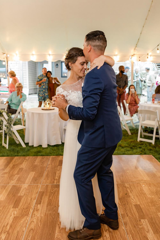 Ogunquit Maine Wedding Photographer Backyard wedding first dance