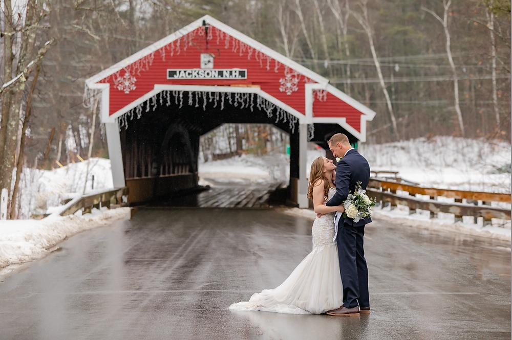 Covered Bridge Jackson New Hampshire Wedding Portrait