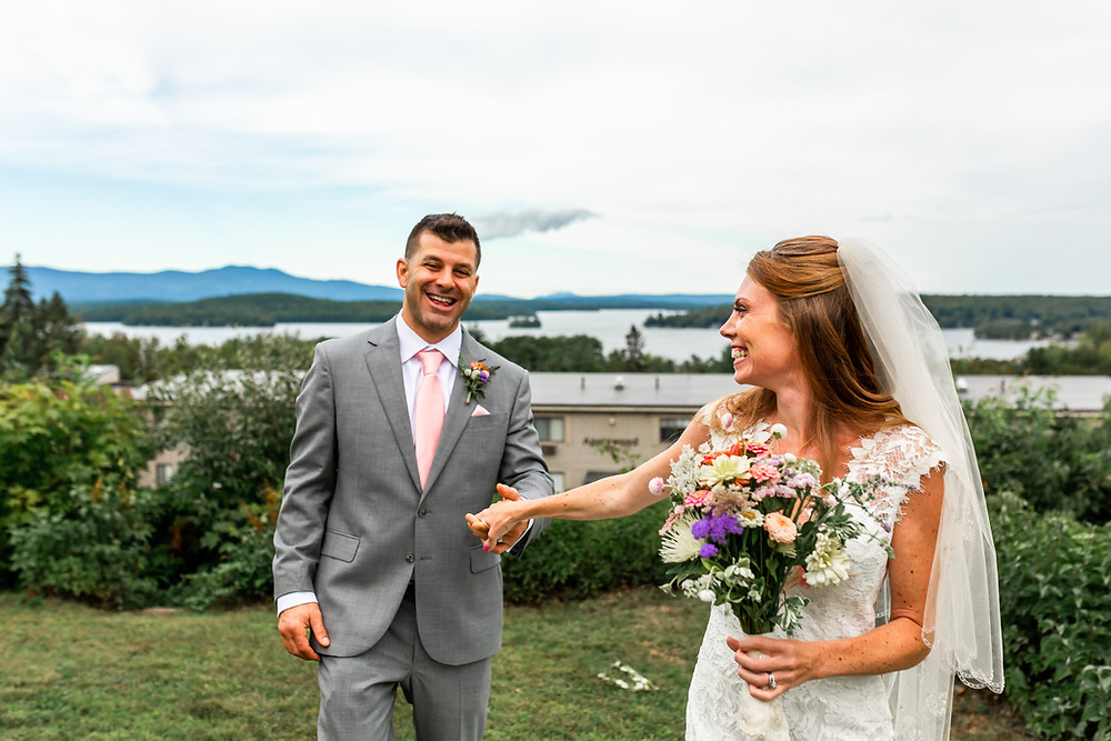 So much joy in this photograph by Laconia New Hampshire Wedding Photographer, Elizabeth Ivy Photography.
