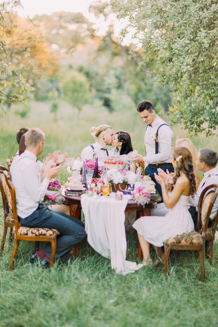 The vertical photo of the wedding dinner