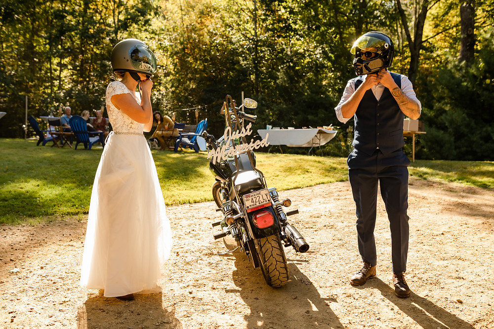 Bride and Groom Motorcycle Maine