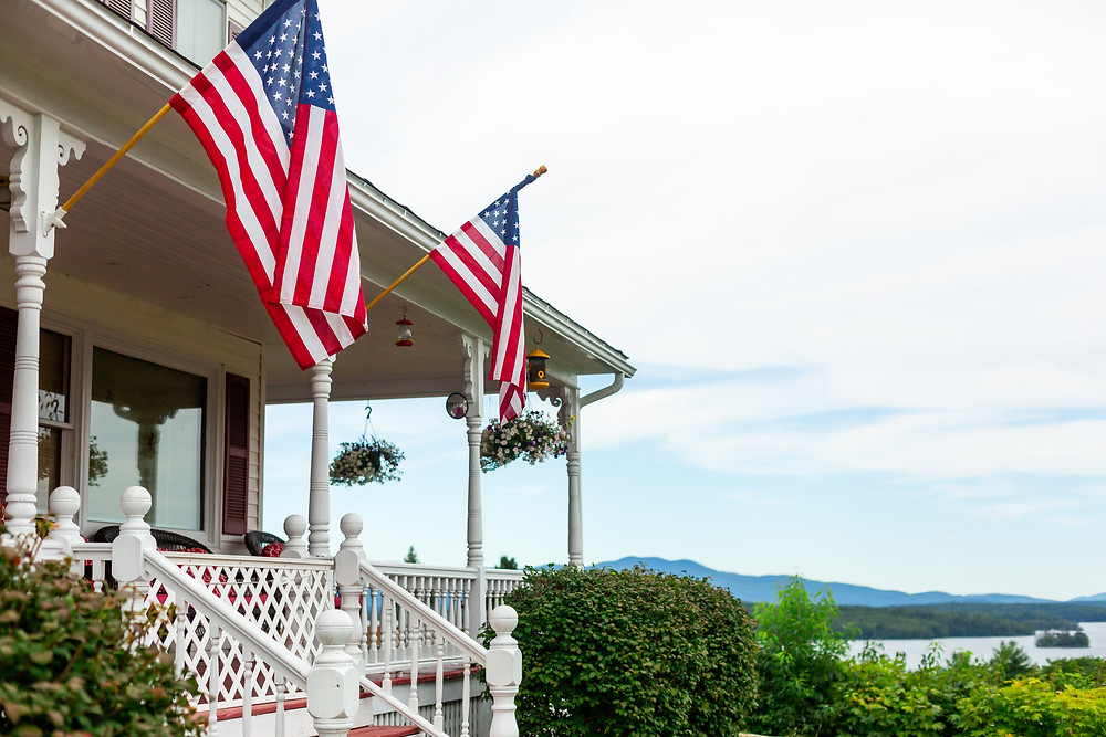 The front porch at the Grandview Resort in Laconia New Hampshire.