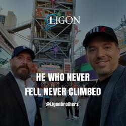 He who has never fell has never climbed, Michael and David Ligon.