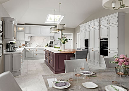 Grey and Purple In-Frame Kitchen