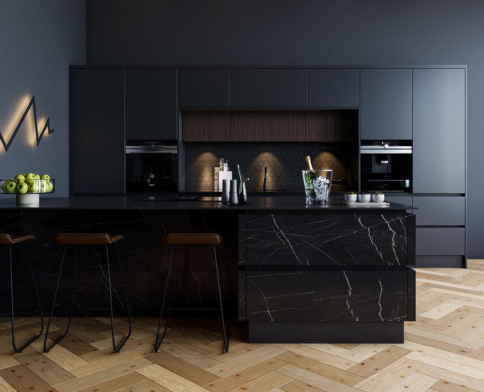 Matt black slab kitchen in true handleless style.