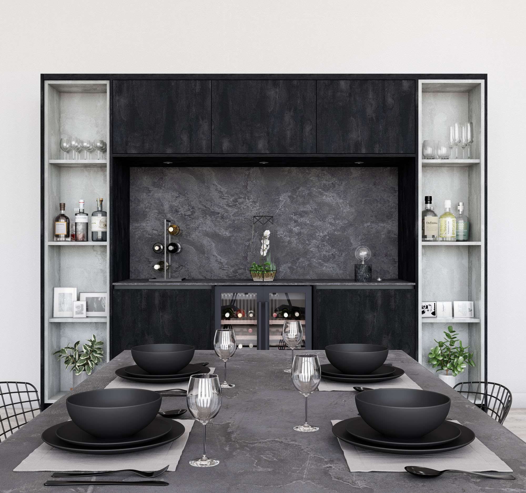 Linden Kitchen in Concrete Flow and Charcoal Flow