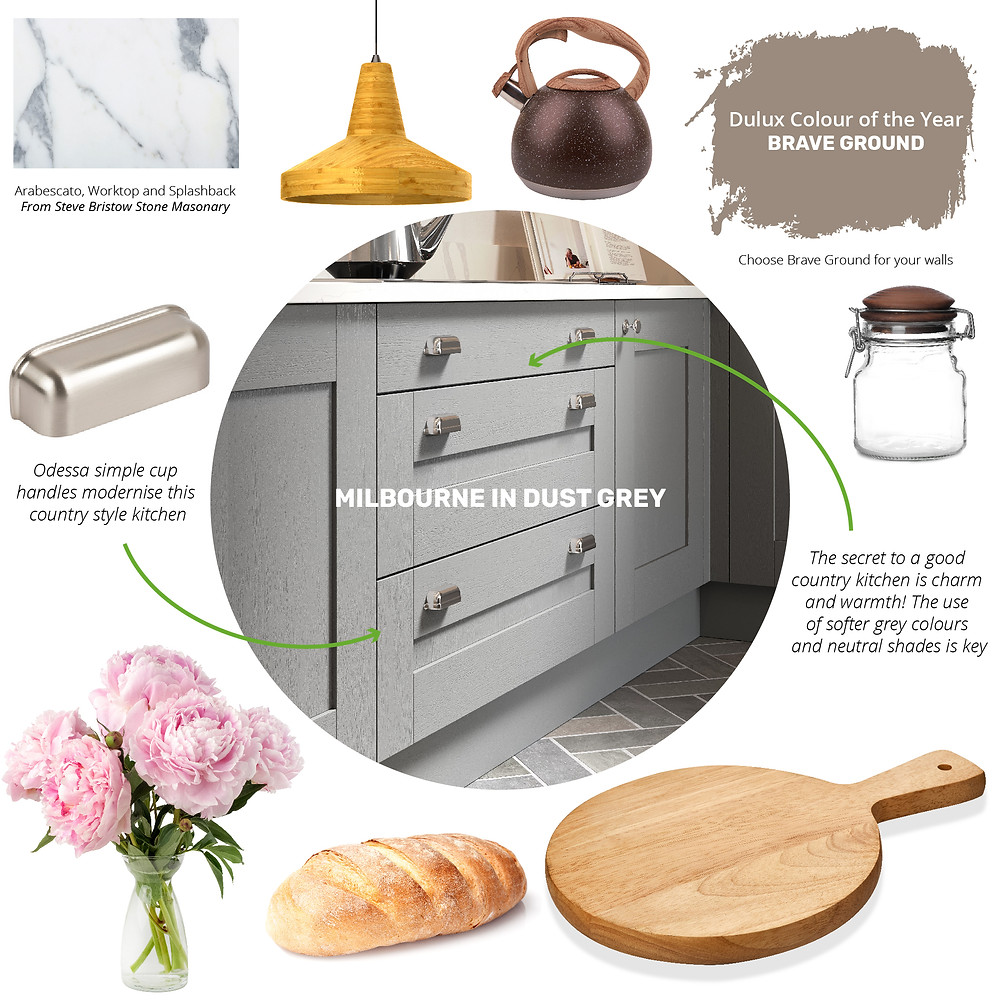 A country kitchen design moodboard