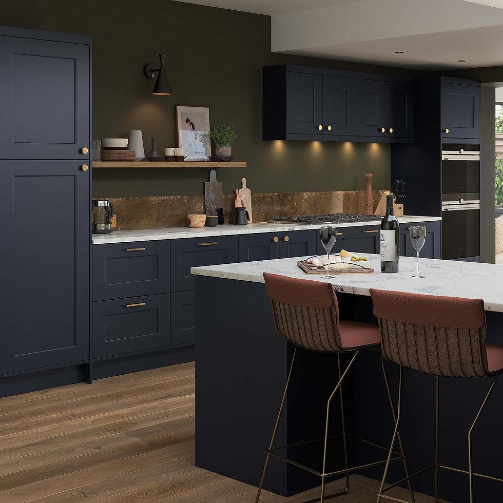 Dark Blue Industrial Kitchen