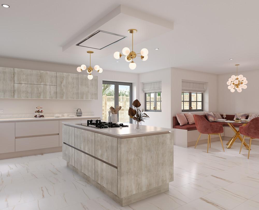 Wood grain handleless kitchen