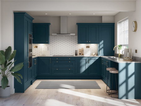 Striking Green & Blue Kitchen Design