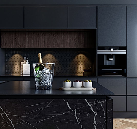 Matt Black Handleless Kitchen