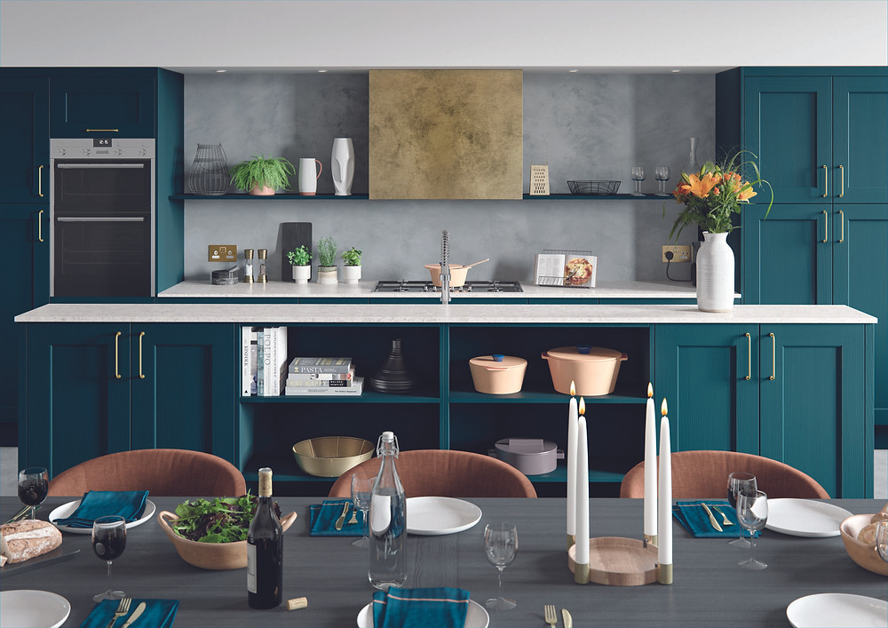 Dark blue shaker kitchen
