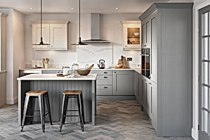 A light grey and dark grey shaker kitchen