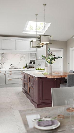 Elegance Powderham Kitchen painted light grey and purple