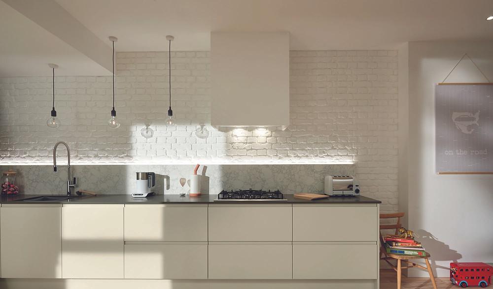 Porcelain J handle minimal kitchen