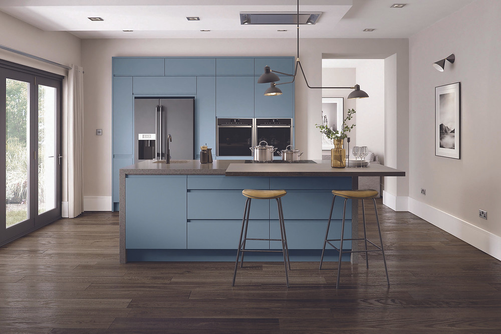 blue handleless kitchen