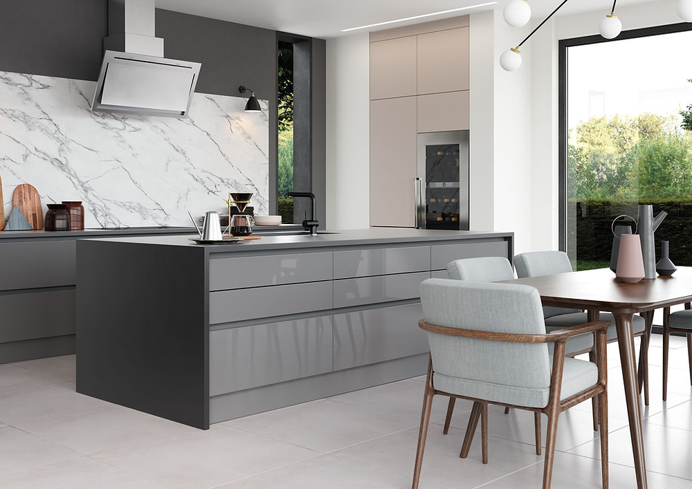Grey and cashmere handleless kitchen