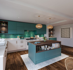 Linden Kitchen in Petrol and White Grey