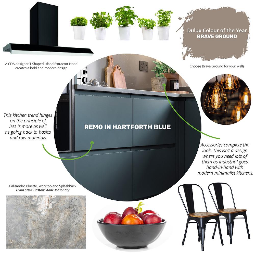 An industrial kitchen design moodboard