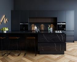 Manston Kitchen in Matt Black & Pietra Griga