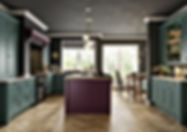 Treloy shaker kitchen in viridian and deep heather