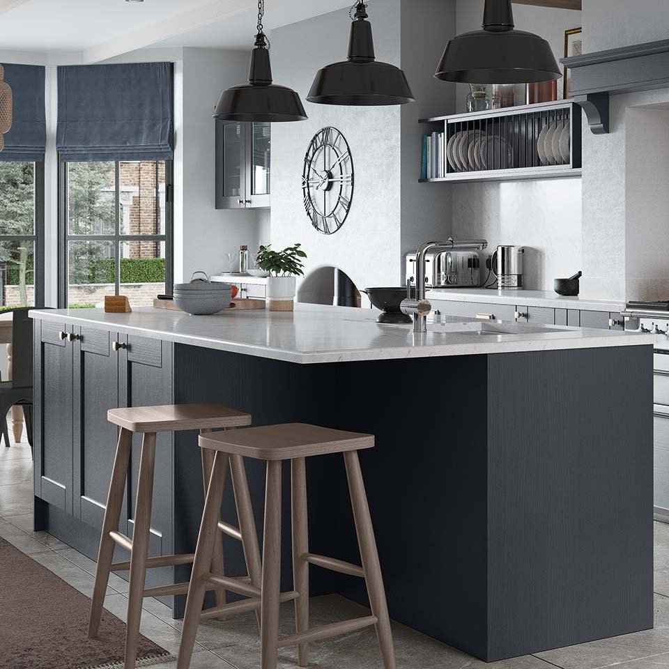 Dark Blue Indigo Kitchen