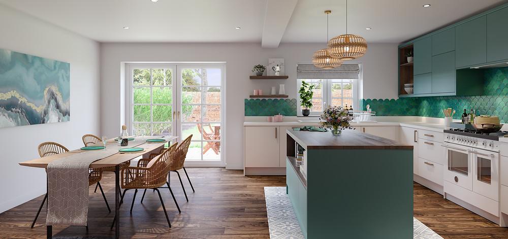 blue and white slab kitchen