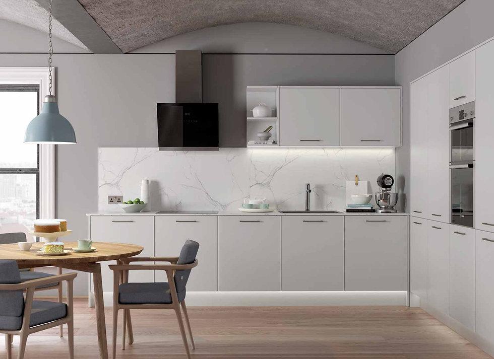 light grey minimalist kitchen