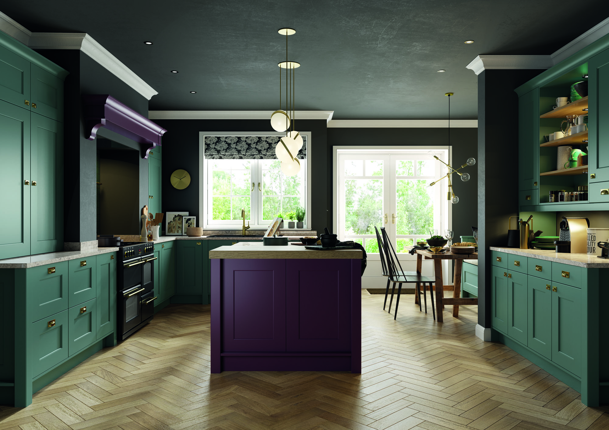 Treloy Kitchen in Viridian and Deep Heather