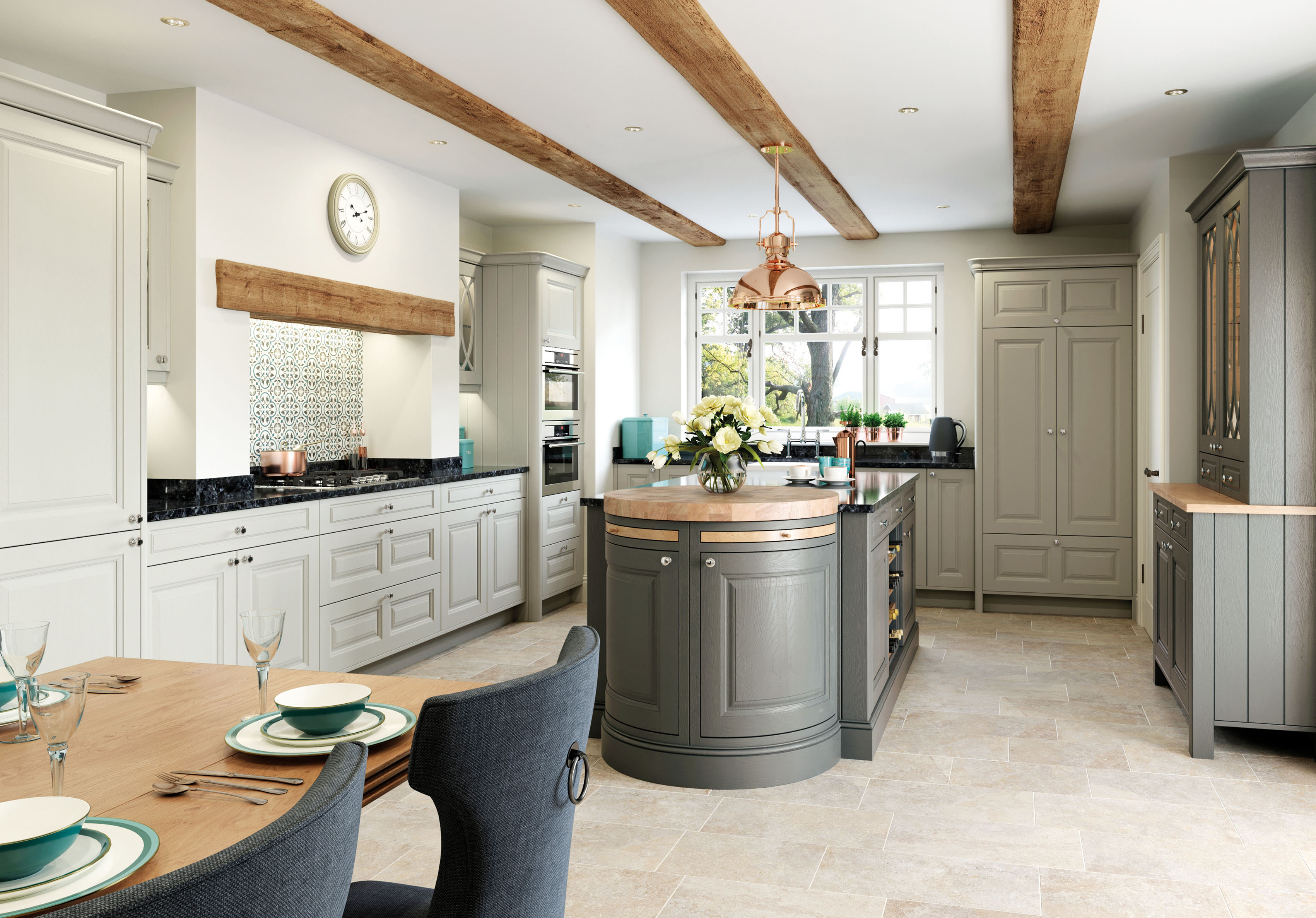 Charnwood Kitchen in Stone and Gun Metal Grey