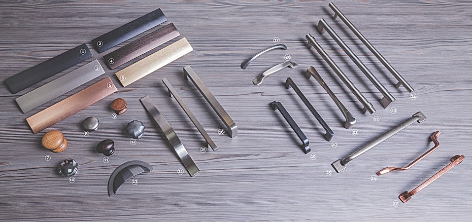 A wide selection of kitchen handles