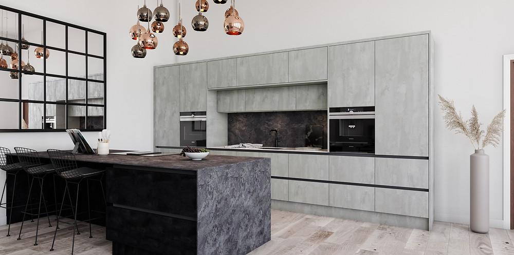Concrete effect minimal kitchen