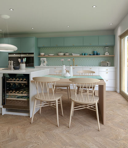 Light Blue and Marble Kitchen