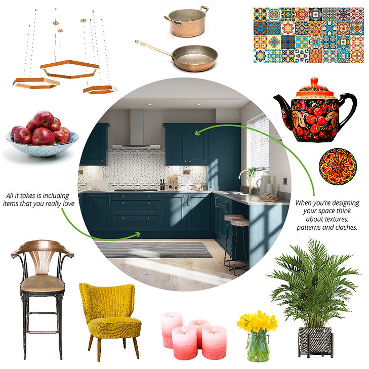 A maximalist kitchen design moodboard