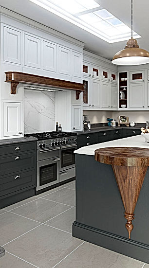 Elegance Kitchen Painted Light Grey and Dark Grey